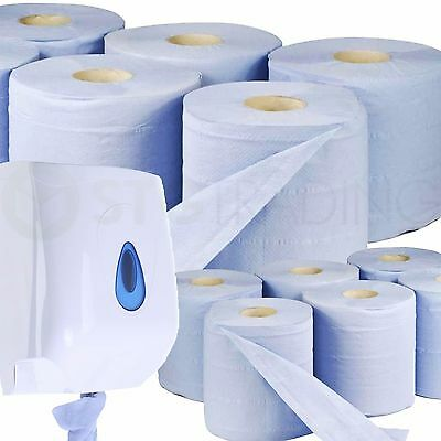 6 x Blue Centrefeed Embossed 2ply Paper Towel & Wall dispenser. BARGAIN!