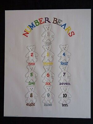 Number Bears Stampa Springdale Graphics 1987 Made In U.s.a. Anni 80 Vintage Art