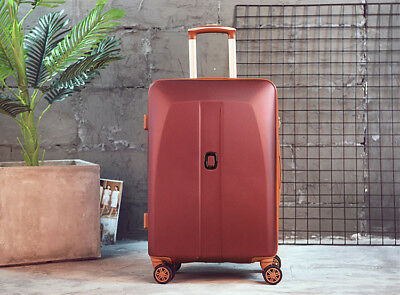 D41 Red Universal Wheel Coded Lock Travel Suitcase Luggage 24 Inches W