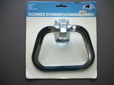 Vintage  1987 Donner Chrome Finish Metal Towel Ring Sealed NOS