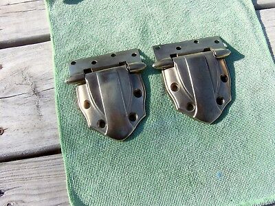 "2 Large Heavy Antique Ice Box Hinges-Solid Brass-Early 1900's-3 1/2"" X 3 1/4""-Nr"