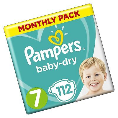 Pampers Baby-Dry Size 7, 112 Nappies, 15+ kg, Air Channels for Breathable Dry...