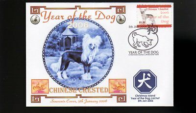 Year Of The Dog Stamp Illustrated Souvenir Cover, Chinese Crested 1