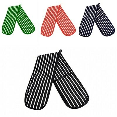 Double Oven Gloves Butcher Stripe Quilted Cooking Pot Holder Heat Resistant Mitt