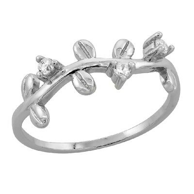 Sterling Silver Dainty Coffee Bean Ring w/ Micro Pave Cubic Zirconia Stones