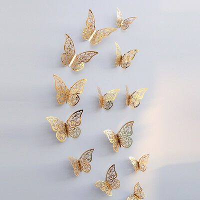 12 Pcs 3D Hollow Wall Stickers Butterfly Fridge for Home Decoration Butterfly