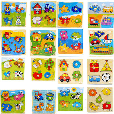 Wooden Puzzle Jigsaw Cartoon Kid Educational Learning Puzzle Toy For Baby JKUS