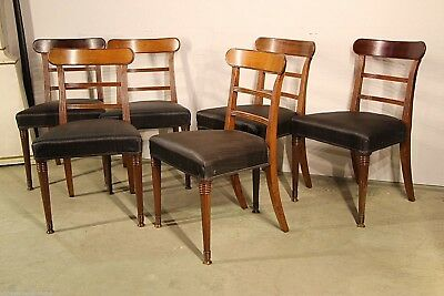 Antique Regency 1810 dining chairs Georgian large seats carved mahogany elegant