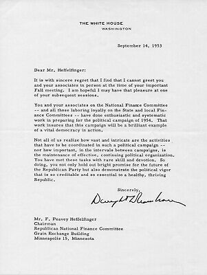 President Dwight D. Eisenhower Signed 1953 White House Letter and Photograph