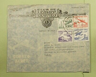 Dr Who Chile To Usa Multi Franked Air Mail Lions Club C79980