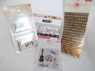 Lot Maggie Holmes Scrapbook Paper Pad Bloom Stamps Stickers Embellishments