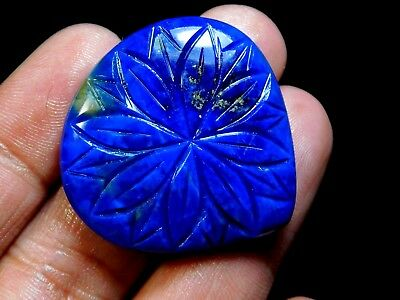 Hand Carved Natural Lapis Lazuli Flower Of Life Carving Heart Cabochon 65.80 Cts