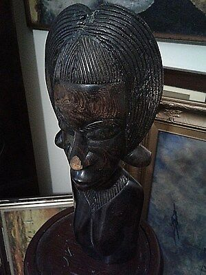 Large Antique African Female Carved Wood Bust  Good Condition