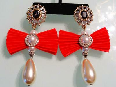 "Vtg 80S Quality Ornate Vivid 3.6"" Glass Pearl Red Bow Drop Huge Runway Earrings"