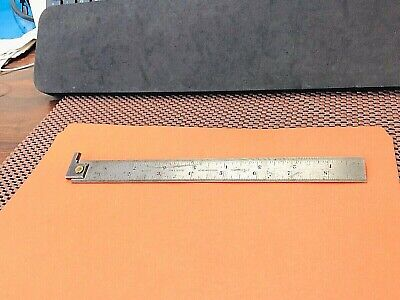 """STARRETT No.307  9"""" Long Hook Spring-Tempered Steel Rule With No.7 Graduations."""
