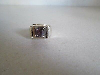 Arts & Crafts Men's Heavy Hand Made Sterling Silver & Amethyst Ring Hallmarked