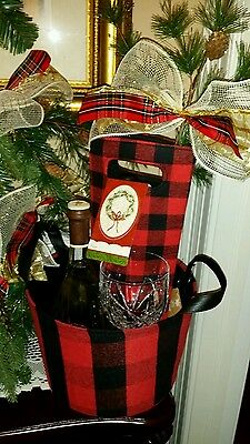 Red/Blk Wine Lovers Gift Set, Buffal Plaid Tote and Matching Ice Bucket Holder