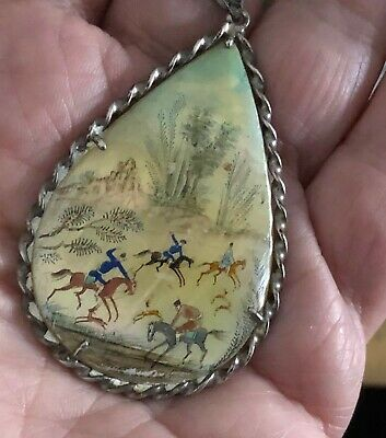 Antique Silver Persian Shell Pendant Hand-painted Birds, Horses CHAIN Necklace