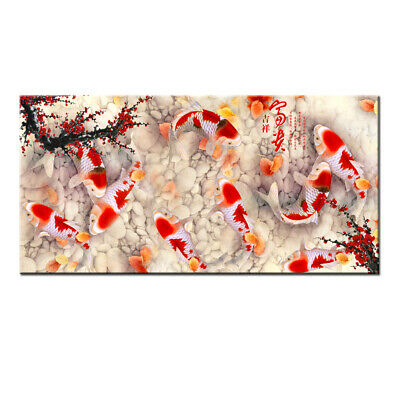 Art Wall Home Decor HD print oil painting on Canvas Feng Shui Fish Koi Painting