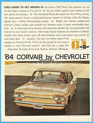 1964 Chevrolet Chevy Corvair Monza Club Coupe General Motors 1963 Photo Ad