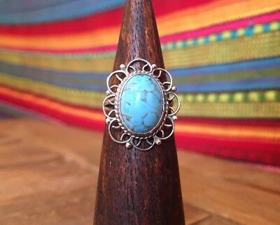 Vintage Mexico Sterling Silver Filigree Turquoise Ring Size 6.5