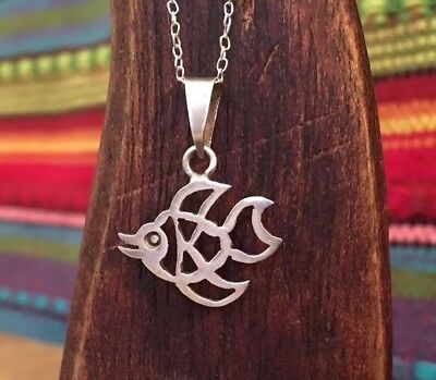 Small Taxco Smiling Fish Sterling Silver Pendant