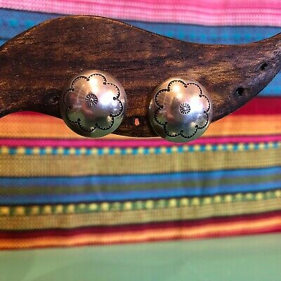 native american carved dome sterling silver screw back earrings