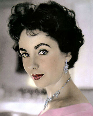 """Elizabeth Taylor Actress & Hollywood Movie Star 8X10"""" Hand Color Tinted Photo"""