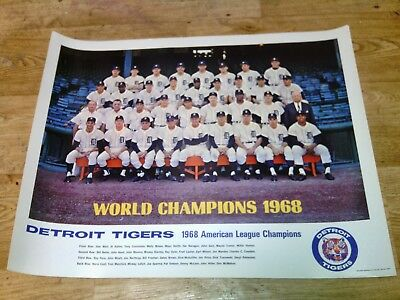 1968 Detroit Tigers World Series Championship Baseball Authentic Vintage Poster