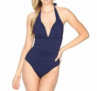afb1ade68d Tommy Bahama NEW Navy Blue Womens Size 16 Halter One-Piece Swimsuit  148 097