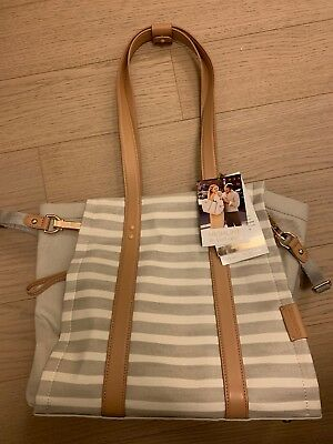 Skip Hop Highline Baby Diaper Bag Tote w/ Changing Pad Oyster Stripe NEW