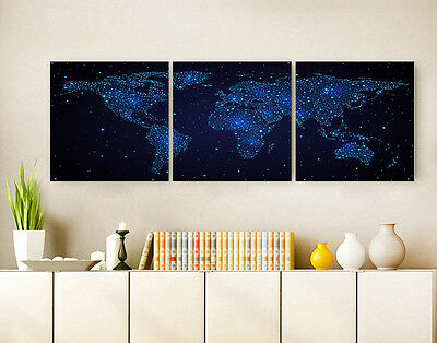 """16 X 16"""" X3PCS Wall Decor Art Oil Painting on Canvas NO FRAME STAR WORLD MAP 037"""