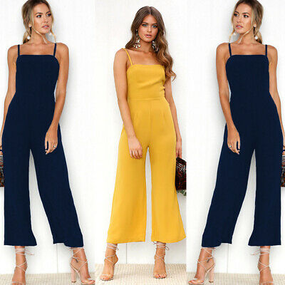 Womens Summer Jumpsuit Sleeveless Playsuit Party Wide Leg Long Trousers Romper
