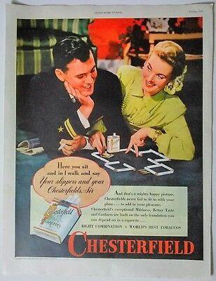 Vintage 1945 Color Chesterfield Cigarettes Magazine Wartime Ad Full Page