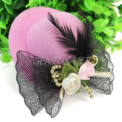 Trendy Pink Hair Clip Accessory Wedding Fascinator Mini Top Hat Bowtie Feather