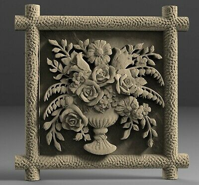 STL 3D Models # FLOWERS DECORATIVE PANEL # for CNC Aspire Artcam 3D Printer