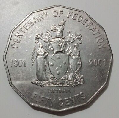 2001 Circulated 50c Fifty Cent Australian Coin Centenary of Federation - VIC