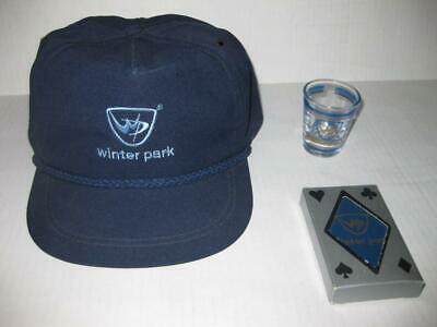 b14d95ca30f Winter Park Colorado Vintage 1980 s Navy Blue Cap Hat Playing Cards Shot  Glass