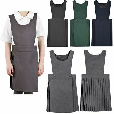 Girls Kids Pleated Pinafore Dress School Uniform Black Grey Navy Green All Sizes
