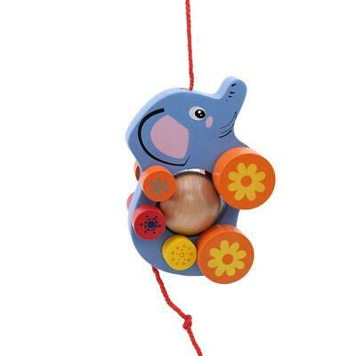 Infant Dragging Toys Kids Baby Wooden Toddler Elephant Along Walk Toys HD