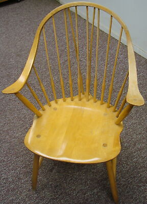 Early Vintage Antique Oak Style Wooden Sitting Single Dining Room Chair W/ Arms
