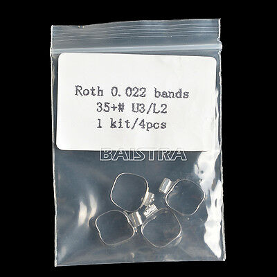 "4Pcs/ Dental Ortho 1st Molar Roth.022"" Bands Prewelded Buccal Tubes 35+#"