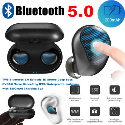True Wireless Bluetooth 5.0 Earbuds Stereo Headphone CVC8.0 1200mA Charger touch