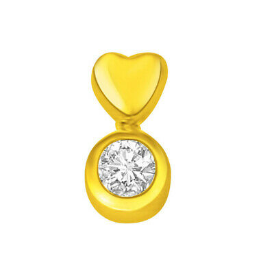 Big Round Real Natural Heart Solitaire Diamond Pendant in 18kt Yellow Gold P785