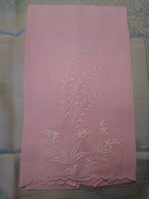 """Beautiful Madeira Pink Embroidered Pink Linen Hand Towel 20 x 12 1/2"""""""