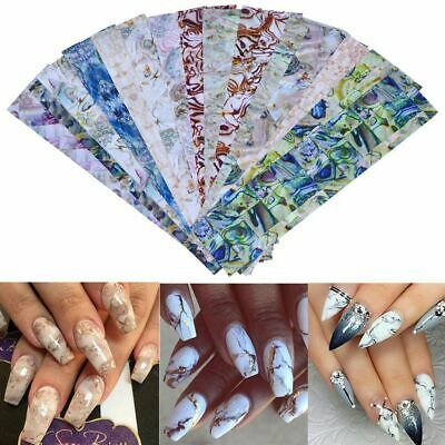 16Sheets Gradient Marble Shell Design Nail Art Foil Transfer Decal Sticker Decor