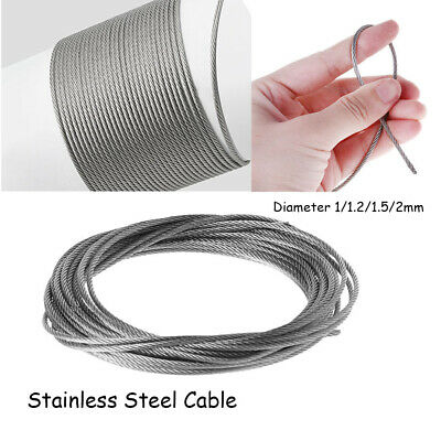 3/5/10 Meters 304 Stainless Steel Fishing Cable Wire Softer Rope 1/1.2/1.5/2mm