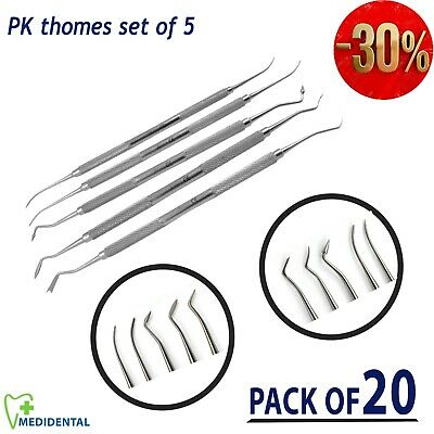Dental P.K Thomas Set of 5 Wax Carvers Modeling Instruments Surgical pack of 20