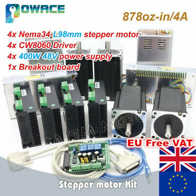 【DE】4 Axis Nema34 98mm Stepper Motor 4.0A+Driver 6A 80VDC+400W 48V Power Supply