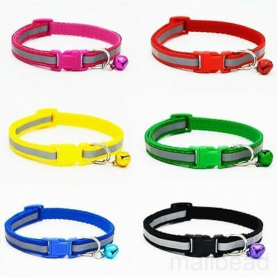 New Reflective Cat Collar with Bell Nylon Cute Cat  Dog Safety Buckle Pet Collar
